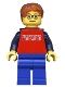 Minifig No: cty0180a  Name: Red Shirt with 3 Silver Logos, Dark Blue Arms, Blue Legs, Dark Orange Short Tousled Hair, Red Eyebrows, Backpack