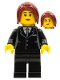 Minifig No: cty0183  Name: Suit Black, Dark Red Hair Ponytail Long, Female Dual Sided Head