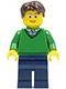 Minifig No: cty0191  Name: Green V-Neck Sweater, Dark Blue Legs, Dark Brown Short Tousled Hair, Glasses
