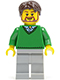 Minifig No: cty0194  Name: Green V-Neck Sweater, Light Bluish Gray Legs, Dark Brown Tousled Hair