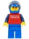 Minifig No: cty0196  Name: Red Shirt with 3 Silver Logos, Dark Blue Arms, Blue Legs, Blue Helmet, Orange Sunglasses