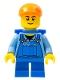 Minifig No: cty0214a  Name: Overalls with Tools in Pocket Blue, Orange Short Bill Cap, Blue Short Legs, D-Basket, Black Eyebrows