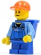 Minifig No: cty0214b  Name: Overalls with Tools in Pocket Blue, Orange Short Bill Cap, Blue Short Legs, D-Basket, Reddish Brown Eyebrows
