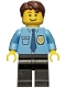 Minifig No: cty0216  Name: Police - City Shirt with Dark Blue Tie and Gold Badge, Black Legs, Dark Brown Short Tousled Hair