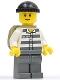 Minifig No: cty0222b  Name: Police - Jail Prisoner 50380 Prison Stripes, Dark Bluish Gray Legs, Black Knit Cap, Reddish Brown Eyebrows, Thin Grin, Backpack