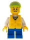 Minifig No: cty0229a  Name: White Hoodie with Blue Pockets, Blue Short Legs, Lime Short Bill Cap, Life Jacket Center Buckle
