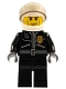 Minifig No: cty0230  Name: Police - City Leather Jacket with Gold Badge and 'POLICE' on Back, White Helmet, Trans-Black Visor, Cheek Lines