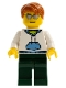 Minifig No: cty0240  Name: White Hoodie with Blue Pockets, Dark Green Legs, Dark Orange Short Tousled Hair