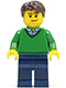 Minifig No: cty0261  Name: Green V-Neck Sweater, Dark Blue Legs, Dark Brown Short Tousled Hair, Smirk and Stubble Beard