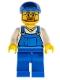 Minifig No: cty0268  Name: Overalls Blue over V-Neck Shirt, Blue Legs, Blue Short Bill Cap, Beard and Glasses