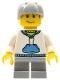 Minifig No: cty0285  Name: White Hoodie with Blue Pockets, Light Bluish Gray Short Legs, Light Bluish Gray Sports Helmet