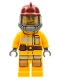 Minifig No: cty0287  Name: Fire - Bright Light Orange Fire Suit with Utility Belt, Dark Red Fire Helmet, Yellow Airtanks