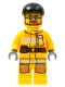 Minifig No: cty0300  Name: Fire - Bright Light Orange Fire Suit with Utility Belt, Black Short Bill Cap, Beard and Glasses