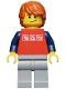 Minifig No: cty0312  Name: Red Shirt with 3 Silver Logos, Dark Blue Arms, Light Bluish-Gray Legs, Dark Orange Hair