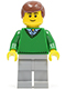 Minifig No: cty0318  Name: Green V-Neck Sweater, Light Bluish Gray Legs, Reddish Brown Hair