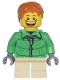 Minifig No: cty0328  Name: Winter Jacket Zipper, Tan Short Legs, Dark Orange Short Tousled Hair