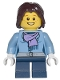 Minifig No: cty0331  Name: Medium Blue Jacket with Light Purple Scarf, Dark Blue Short Legs, Dark Brown Mid-Length Tousled Hair