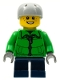 Minifig No: cty0336  Name: Winter Jacket Zipper, Dark Blue Short Legs, Light Bluish Gray Sports Helmet