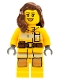Minifig No: cty0337  Name: Fire - Bright Light Orange Fire Suit with Utility Belt, Reddish Brown Female Hair over Shoulder