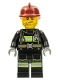 Minifig No: cty0343  Name: Fire - Reflective Stripes with Utility Belt, Dark Red Fire Helmet, Crooked Smile and Scar