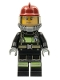 Minifig No: cty0348  Name: Fire - Reflective Stripes with Utility Belt, Dark Red Fire Helmet, Yellow Airtanks, Sweat Drops