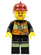 Minifig No: cty0369  Name: Fire - Reflective Stripes with Pockets and Shoulder Strap, Dark Red Fire Helmet, Beard Light Brown Angular