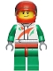 Minifig No: cty0389  Name: Race Car Driver, White Race Suit with Octan Logo, Red Helmet with Trans-Black Visor, Crooked Smile with Black Dimple
