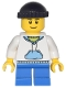 Minifig No: cty0438  Name: White Hoodie with Blue Pockets, Blue Short Legs, Black Knit Cap