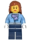 Minifig No: cty0443  Name: Medium Blue Jacket with Light Purple Scarf, Dark Blue Legs, Dark Orange Female Hair Mid-Length