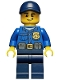 Minifig No: cty0454  Name: Police - City Officer, Gold Badge, Dark Blue Cap with Hole, Lopsided Grin