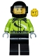 Minifig No: cty0475  Name: Monster Truck Driver, Race Suit with Black and White Swirls, Black Helmet with Trans-Black Visor, Crooked Smile