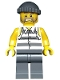 Minifig No: cty0481  Name: Police - Jail Prisoner Shirt with Prison Stripes and Torn out Sleeves, Dark Bluish Gray Legs, Dark Bluish Gray Knit Cap