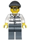 Minifig No: cty0486  Name: Police - Jail Prisoner 86753 Prison Stripes, Dark Bluish Gray Knit Cap, Mask