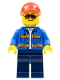 Minifig No: cty0500a  Name: Blue Jacket with Pockets and Orange Stripes, Dark Blue Legs, Red Cap with Hole, Sunglasses with Back Print