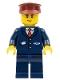 Minifig No: cty0505  Name: Dark Blue Suit with Train Logo, Dark Blue Legs, Dark Red Hat, Cheek Lines