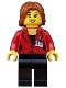 Minifig No: cty0510  Name: Press Woman / Reporter - Black Legs, Dark Orange Mid-Length Tousled Hair