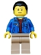 Minifig No: cty0511  Name: Blue Jacket over Dark Red V-Neck Sweater, Dark Tan Legs