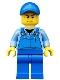 Minifig No: cty0526  Name: Overalls with Tools in Pocket Blue, Blue Cap with Hole, Sweat Drops