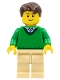 Minifig No: cty0547  Name: Green V-Neck Sweater, Tan Legs, Dark Brown Short Tousled Hair, Thin Grin