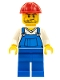 Minifig No: cty0555  Name: Overalls Blue over V-Neck Shirt, Blue Legs, Red Construction Helmet, Crooked Smile and Scar