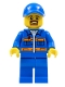 Minifig No: cty0556  Name: Blue Jacket with Pockets and Orange Stripes, Blue Legs, Blue Cap with Hole, Brown Moustache and Goatee