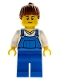 Minifig No: cty0606  Name: Farm Hand, Female, Overalls Blue over V-Neck Shirt, Thin Smile