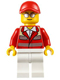 Minifig No: cty0608  Name: Paramedic - Red Uniform, Male, Red Short Bill Cap