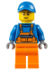 Minifig No: cty0609  Name: Overalls with Safety Stripe Orange, Orange Legs, Blue Short Bill Cap, Thin Grin