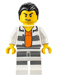 Minifig No: cty0613  Name: Police - Jail Prisoner Shirt with Prison Stripes and Orange Undershirt, Striped Legs, Hair Combed
