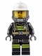 Minifig No: cty0637  Name: Fire - Reflective Stripes with Utility Belt, White Fire Helmet, Breathing Neck Gear with Airtanks, Trans Black Visor, Sweat Drops