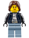 Minifig No: cty0645  Name: Police - City Bandit Crook Female, Sand Blue Legs, Dark Brown Mid-Length Tousled Hair