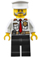 Minifig No: cty0647  Name: Fire Boat Captain - White Shirt with Red Tie, Badge, Belt, Black Legs, White Police Hat