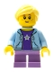 Minifig No: cty0665  Name: Girl, Bright Light Blue Hoodie, Medium Lavender Short Legs