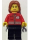 Minifig No: cty0676  Name: Post Office White Envelope and Stripe, Black Legs, Dark Orange Mid-Length Tousled Hair